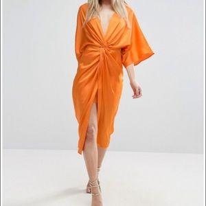 ASOS NEW Size US 0 Orange Kimono Knot Dress